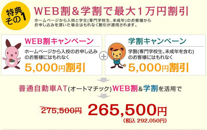 特典その1 WEB割&学割で最大1万円割引